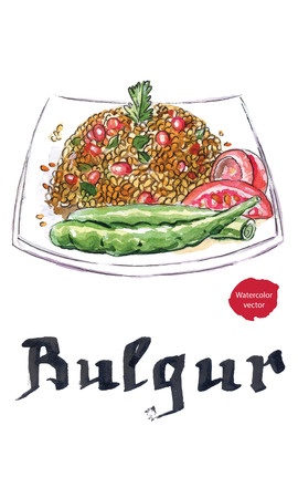middle eastern food: Plate of bulgur with peppers, tomatoes and pomegranate, hand drawn - watercolor Illustration