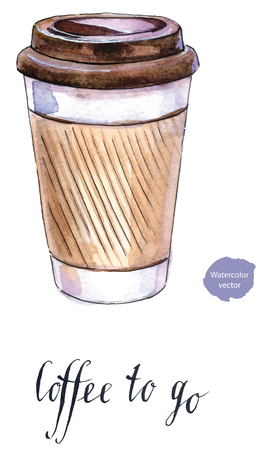 Take-out coffee with cup holder, hand drawn - watercolor Illustration Vectores