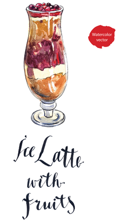 latte: Ice latte with fruits, hand drawn - watercolor Illustration