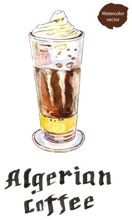 algerian: Cup of Algerian coffee, hand drawn - watercolor Illustration Stock Photo
