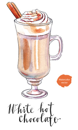 cinnamon: White hot chocolate in mug decorated with whipped cream with cinnamon stick, hand drawn - watercolor Illustration