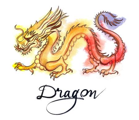 Yellow-red dragon, hand drawn - watercolor Illustration
