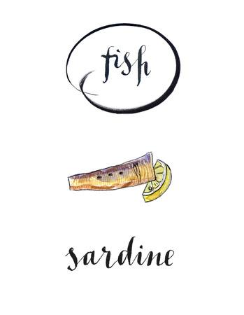 Piece of sardine and lemon, hand drawn - watercolor Illustration Stock Photo