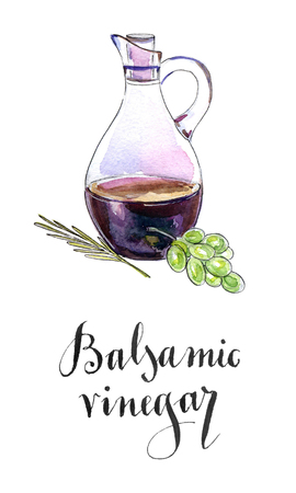 savoury: Bottle of balsamic vinegar, crema balsamico with a twig of rosemary and green grape, hand drawn - watercolor Illustration