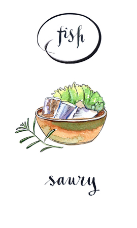 Bowl of saury, salad and twig of rosemary, hand drawn - watercolor Illustration