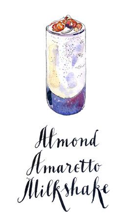 amaretto: Glass of almond amaretto milkshake, hand drawn - watercolor Illustration Stock Photo