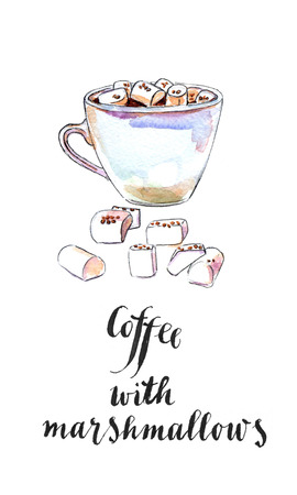 indulgence: White cup of black coffee with marshmallows, hand drawn - watercolor Illustration Stock Photo