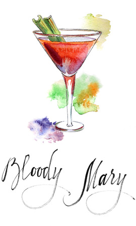 Wineglass of cocktail Bloody Mary with green celery, hand drawn - watercolor Illustration Stock Photo