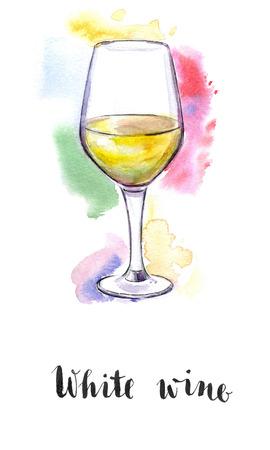 white grape: Wineglass of white wine, hand drawn - watercolor Illustration
