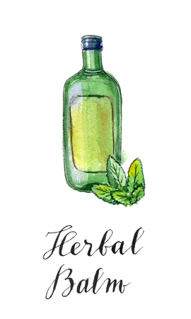 balm: Green bottle of herbal balm with green leaves, hand drawn - watercolor Illustration
