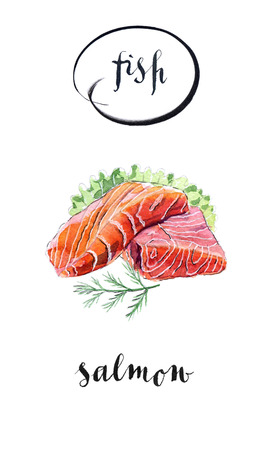 salmon fillet: Slice of salmon with salad and dill, hand drawn - watercolor Illustration