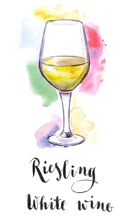 white riesling grape: Wineglass of white wine Riesling, hand drawn - watercolor Illustration Stock Photo