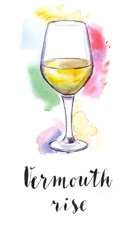 Wineglass of vermouth rise, hand drawn - watercolor Illustration