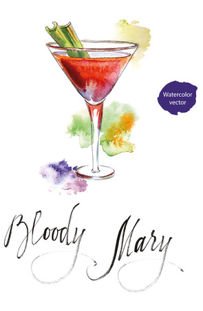 Wineglass of cocktail Bloody Mary with green celery, hand drawn - watercolor vector Illustration
