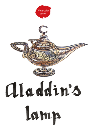 Magic lamp from the story of Aladdin with Genie. Alladins Oriental eastern candle lamp with a Djinn. Hand drawn - watercolor vector Illustration