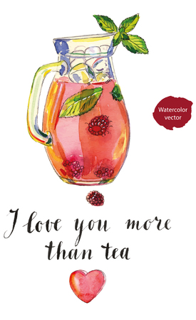 condensation on glass: Fruit iced tea with raspberries, peppermint and ice in pitcher, hand drawn - watercolor vector Illustration