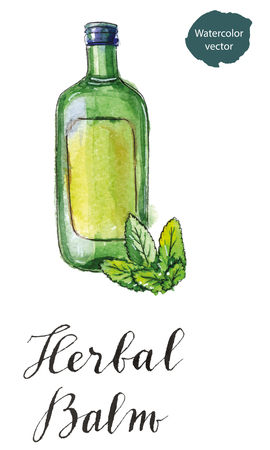 balm: Green bottle of herbal balm with green leaves, hand drawn - watercolor vector Illustration