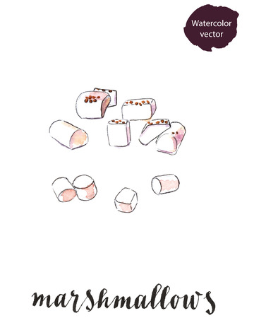 spongy: Sweet white marshmallows, hand drawn - watercolor vector Illustration
