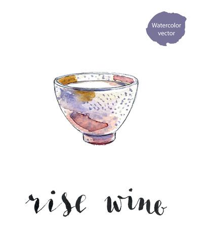 Ceramic bowl of rise wine, hand drawn - watercolor vector Illustration