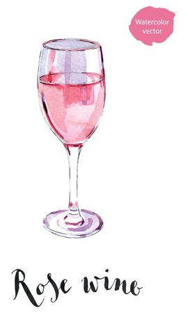 バラのワイン、手描きの水彩画ベクトル図のワイングラス