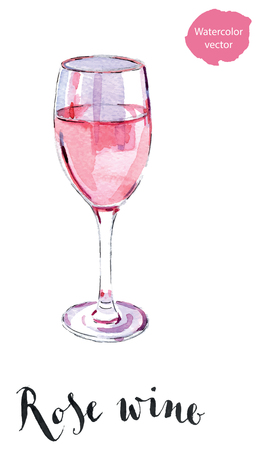 Wineglass of rose wine, hand drawn - watercolor vector Illustration