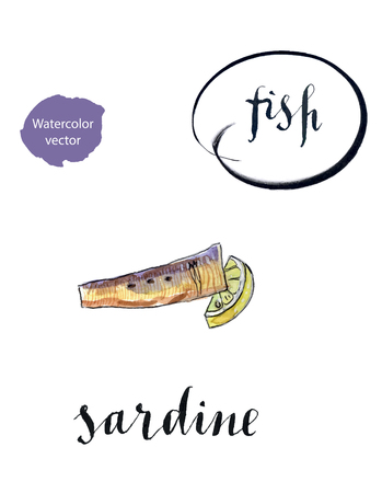 Piece of sardine and lemon, hand drawn - watercolor vector Illustration