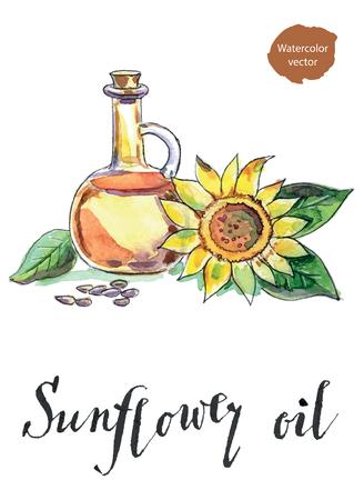 ボトルのひまわり油、ヒマワリ種子、手描きの水彩画ベクトル図  イラスト・ベクター素材