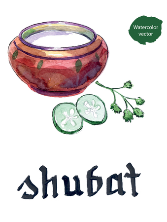 Kazakh cuisine, bowl of shubat or fermented camel milk with cucumbers and parsley, hand drawn - watercolor vector Illustration