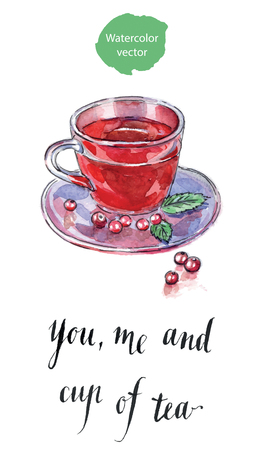 You, me and cup of tea, hot winter drink with cranberries, hand drawn - watercolor vector Illustration