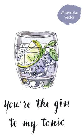 Usted es el gin tonic a mi, vaso de ginebra con tónica, dibujado a mano - vector Ilustración de la acuarela