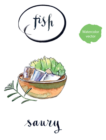 saury: Bowl of saury, salad and twig of rosemary, hand drawn - watercolor vector Illustration Illustration
