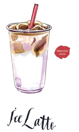 Ijs latte melkkoffie in plastic kop, getrokken hand - waterverf vectorillustratie