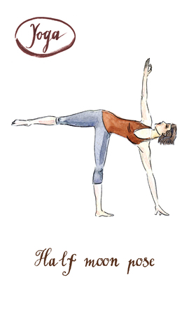 chandrasana: Sporty yoga girl in ardha chandrasana (Half Moon Pose), watercolor, hand drawn - Illustration Stock Photo