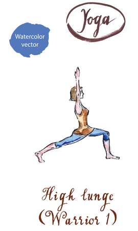 Young woman doing high lunge exercise, Warrior I posture, Virabhadrasana 1, watercolor Çizim