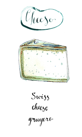 Piece of Swiss Gruyere cheese in watercolor. This cheese is sweet but slightly salty, with a flavor that varies widely with age. It is often described as creamy and nutty when young, becoming with age more assertive, earthy, and complex. Hand drawn, illus
