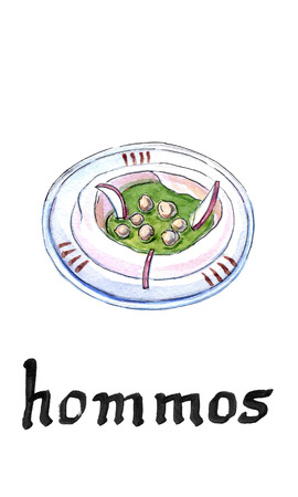 Classic hommos and tahina with parsley on white plate, traditional arabic food, hand drawn, illustration