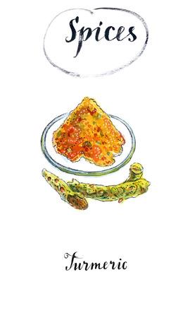 Gelbwurzpulver auf einer Platte und frische Gelbwurz wurzelt im Aquarell, die gezeichnete Hand, Illustration Standard-Bild - 82239882