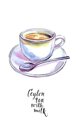 Ceramische kop van de traditionele thee van Ceylon met melk en lepel, in waterverf, getrokken hand, illustratie