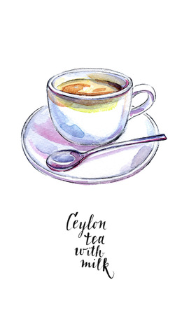 Ceramic cup of traditional Ceylon tea with milk and spoon, in watercolor, hand drawn, illustration Stock Photo