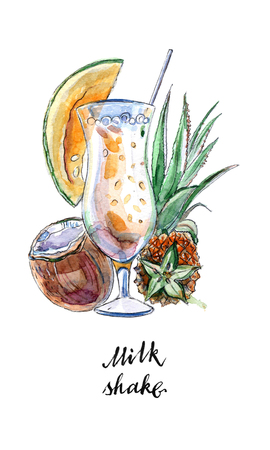 Glass of milk shake with straw and coconut, pineapple, papaya in watercolor, hand drawn, illustration Stock Photo