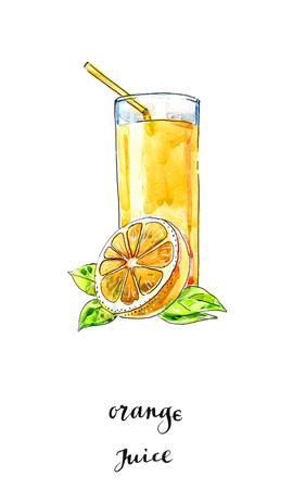 Watercolor glass of summer orange juice with leaves and orange, hand drawn, illustration