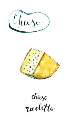 치즈의 수채화 조각 Raclette, 손으로 그린, 그림