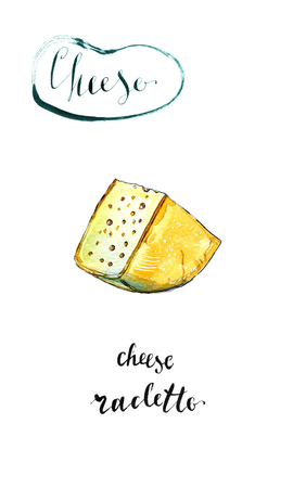 Watercolor piece of cheese Raclette, hand drawn, illustration