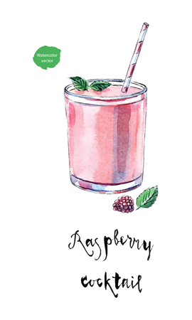 Glass of raspberry cocktail with straw, leaves of mint and fresh berry. Raspberry healthy smoothie drink in watercolor, hand drawn, vector illustration