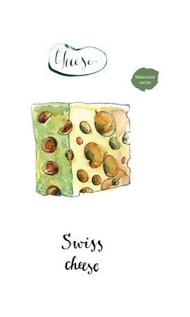 Piece of Swiss cheese in watercolor, hand drawn, vector illustration Illustration