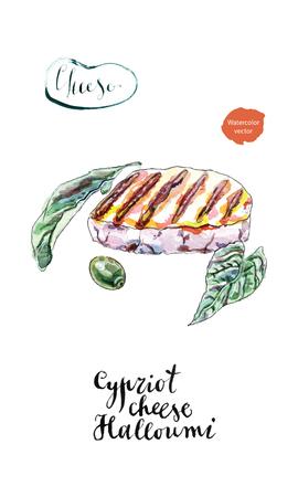 Fetta alla griglia dell'acquerello di formaggio cipriota halloumi. Con segni di griglia, olive ed erbe verdi fresche. Disegnati a mano, illustrazione vettoriale