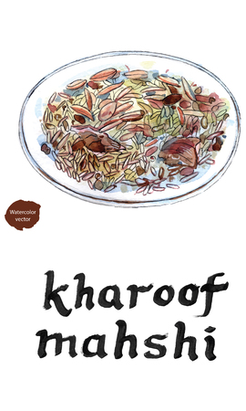 Lebanon food Kharoof mahshi: leg of lamb with rice, onion, nuts and spices in watercolor, hand drawn.
