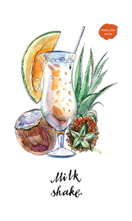 Glass of milk shake with straw and coconut, pineapple, papaya in watercolor, hand drawn, vector illustration