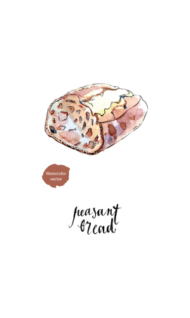Homemade peasant bread made of buckwheat and rye with no yeast in watercolor, hand drawn, vector illustration Vettoriali