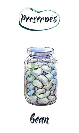 Boiled white kidney beans in glass jar, watercolor hand drawn, illustration Stock Illustration - 91047940